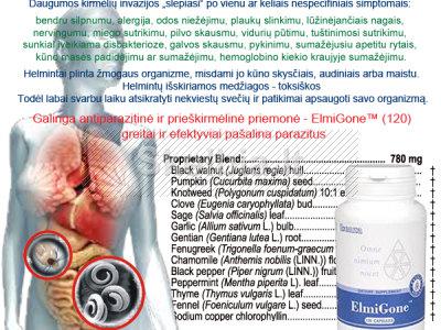 Greitai ir efektyviai PAŠALINA PARAZITUS - ElmiGone TM 120