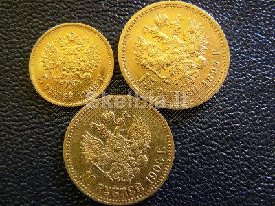 BRANGIAUSIAI PERKU Carinės Rusijos Auksines 5rub, 7. 5rub, 10rub ir 15rublių monetas