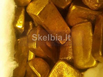 Parduodamos aukso dulkės, aukso strypai ir aukso grynuoliai